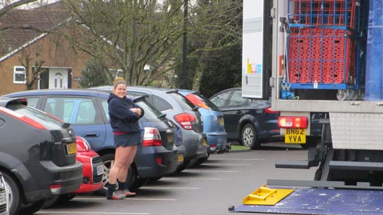 Ceri having to wait in the car park
